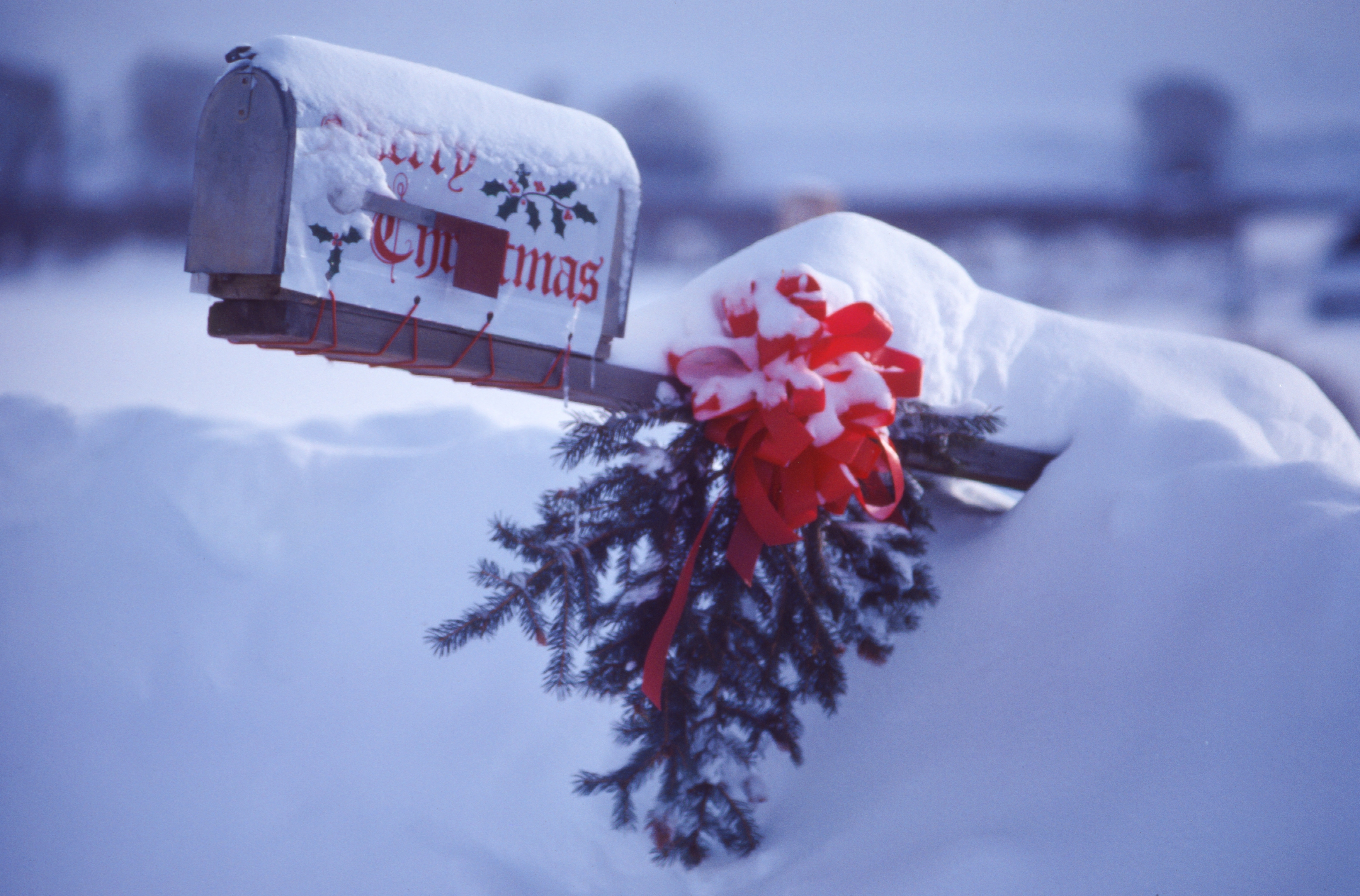 Altitude Media free domestic shipping mailbox covered in snow that says merry christmas