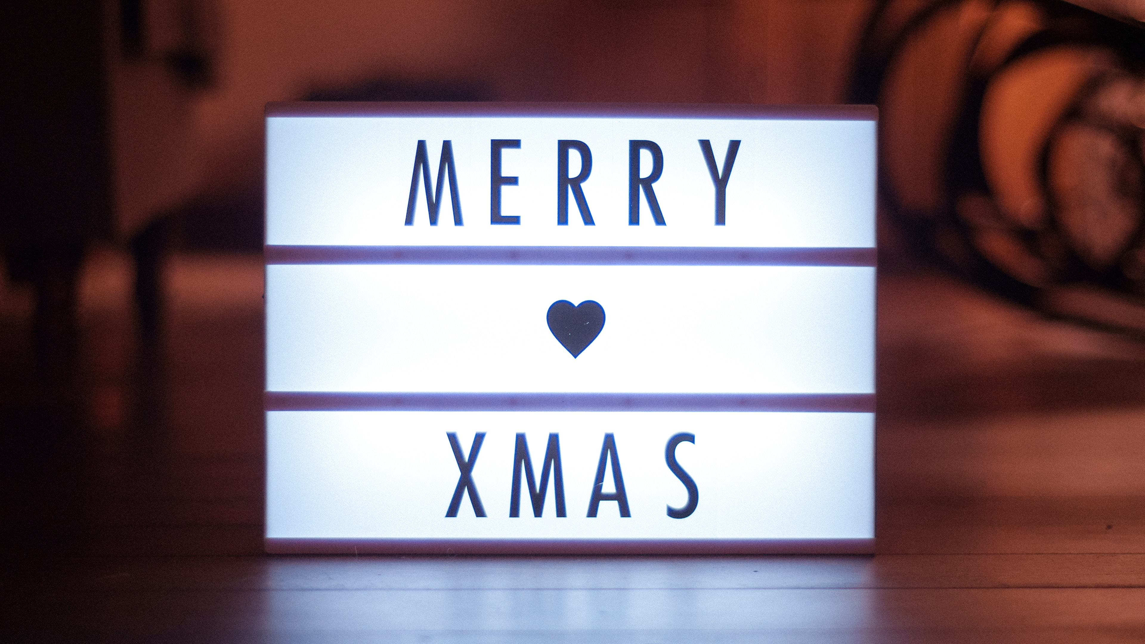 Altitude Media themed promotions light up box with merry xmas written on front